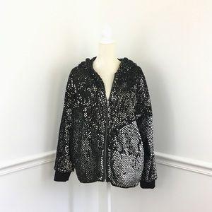 Blank NYC Sequin Oversized Fuzzy Jacket